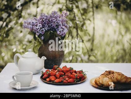 Tasse de thé, croissants et fraises fraîches servies avec des fleurs de lilas sur la table du jardin. Banque D'Images