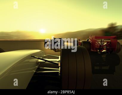 Rendu 3D de voitures auto-conçues dans une course avec deux voitures à la chasse du leader. Banque D'Images