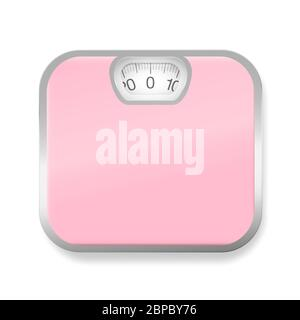 Pèse-personne rose avec cadre argenté - illustration sur fond blanc. Banque D'Images