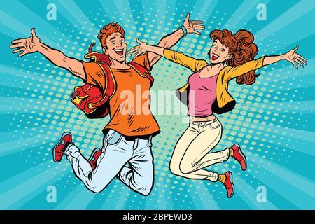 Love couple jeune homme et femme sautant. Retro pop art comic book vector illustration Banque D'Images