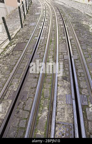 Les voies de tramway dans la ville, un détail pour le tramway rails métalliques, les transports urbains Banque D'Images