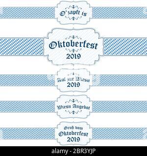 Cinq différents Oktoberfest 2019 bleu et blanc avec texte bannières