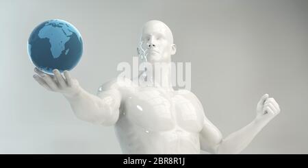 Man Holding Globe Concept d'affaires futuriste