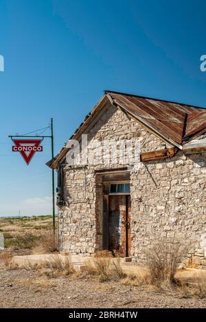 Station-service Conoco, Lake Valley Ghost Town, Nouveau-Mexique, États-Unis Banque D'Images