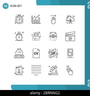 Ensemble de 16 icônes d'interface utilisateur modernes symboles signes pour quart, montre, quatre, nuage, zéro modifiable Vector Design Elements