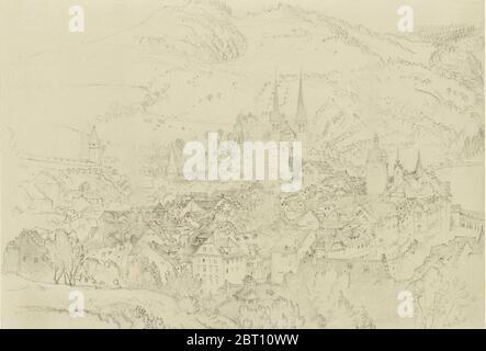 Vue d'en haut de Lucerne, octobre - décembre 1861. Banque D'Images