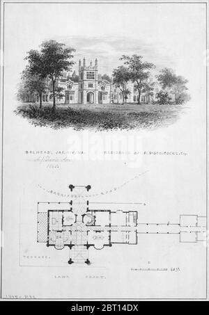 Belmead, James River, Virginie, Résidence de Philip St. George Cocke (vignette de l'élévation et du plan du bord de la rivière), 1845. Banque D'Images