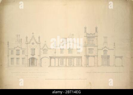 Belmead, Plantation Mansion pour Philip St. George Cocke, Powhatan Co., Virginie (élévations partielles de la façade d'entrée, de la façade de serre et de la façade de la rivière James, présentées en continu), 1846. Banque D'Images