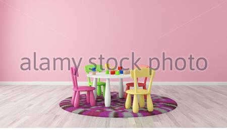 3D rendering salle pour enfants avec table et chaises colorées de Sedat SEVEN Banque D'Images