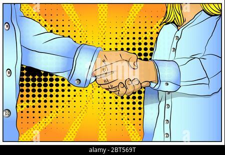 Les gens d'affaires se secouent la main, se font une affaire, finissant une réunion - style de bande dessinée, illustration de vecteur de bande dessinée. Banque D'Images
