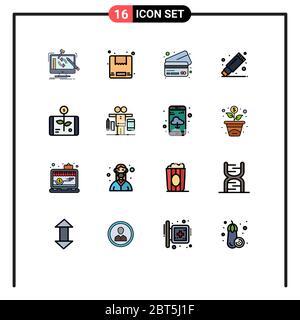 16 concept Flat Color Fremaned Line pour sites Web investissement mobile et applications, entreprise, banque, papeterie, suppression de l'élément de conception de vecteur créatif modifiable Banque D'Images