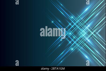 Lignes droites technologie abstraite bleu lumière brillant arrière-plan pour le design. Banque D'Images