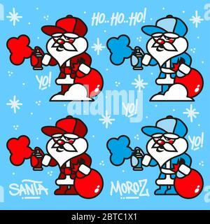 Hiphop Ded Moroz et le Père Noël pulvérisation Graffity Tags Illustration du vecteur Banque D'Images