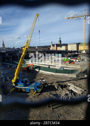 Suède, Stockholm - septembre 16 2018 : l'avis de construction à Gamla Stan le 16 2018 septembre à Stockholm, Suède. Banque D'Images