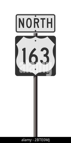 Illustration vectorielle des panneaux routiers nord et de la route 163 sur poteau métallique