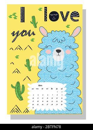 Joli calendrier mensuel de 2021 avec un lama, cactus, inscriptions dans le style scandinave des enfants. Pour le Web, les bannières, les affiches, les étiquettes et l'impression. Banque D'Images