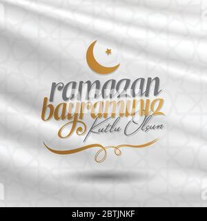L'Eid al-Fitr Moubarak fête islamique Salutations (turc: Ramazan Bayraminiz Kutlu Olsun) saint mois de Ramazan communauté musulmane. Banque D'Images
