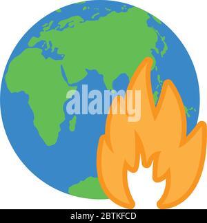 icône de terre sur feu pour sauver la terre de la planète Banque D'Images