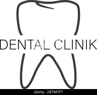 Clinique dentaire, Logo en télévision style sur un fond blanc Banque D'Images
