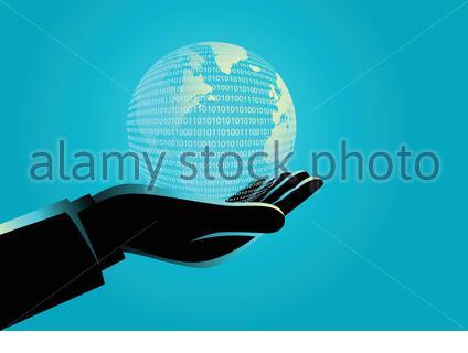 Illustration du concept d'entreprise d'un homme d'affaires tenant un globe numérique Banque D'Images