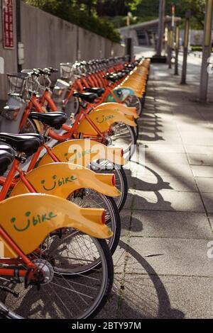 Hsinchu / Taiwan - 15 septembre 2019: U-bike vélos à louer de la fonction publique