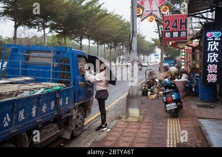 Hsinchu / Taiwan - 15 septembre 2019: Magasins vendant des noix de bétel dans les rues d'une ville de Taiwan