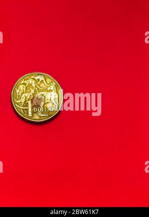 Face avant de pièce de monnaie en dollars australiens isolée sur fond rouge avec flou doux et espace pour le texte de copie. Une pièce de 1 dollar 1995 monnaie australienne. Anciennes pièces Banque D'Images