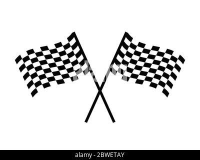 Drapeau de course à double damier. Pictogramme noir et blanc représentant de simples drapeaux de course sur le poteau. Vecteur EPS Banque D'Images