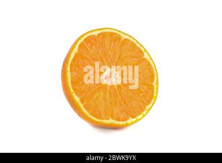 Gros plan de la moitié orange isolée sur fond blanc Banque D'Images