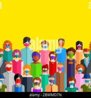 Illustration du contexte médical les personnes portant un masque montrant la prévention d'une nouvelle épidémie mortelle de coronavirus 19 Banque D'Images