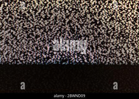 Écran TV statique abstrait pixel Glitch bruit analogique pixelisé texture d'arrière-plan, espace de copie. Écran de télévision rétro pixélisé, écran effrayant et créepy Banque D'Images