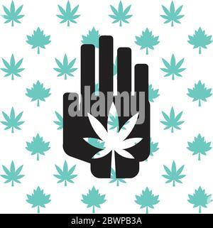 Marijuana à la main avec le fond de la feuille d'érable et de pot Canada Banque D'Images