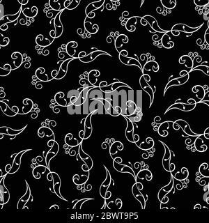Motif fleuri noir et blanc sans coutures. Banque D'Images