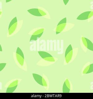 Feuilles de thé sur le motif vert sans couture, fond coloré en boucle Vector pour couverture, papier d'emballage ou site Web. Banque D'Images