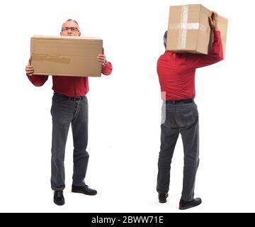 homme avec emballage avant et arrière sur fond blanc Banque D'Images