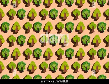 Motif de rangées de petits arbres en bois