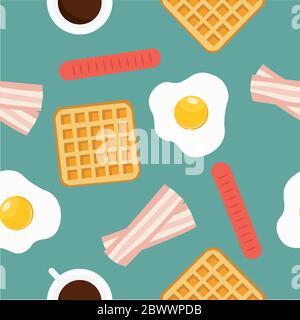 Motif vectoriel sans couture thème petit déjeuner Banque D'Images