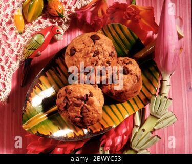 Muffins au chocolat et à la banane Banque D'Images