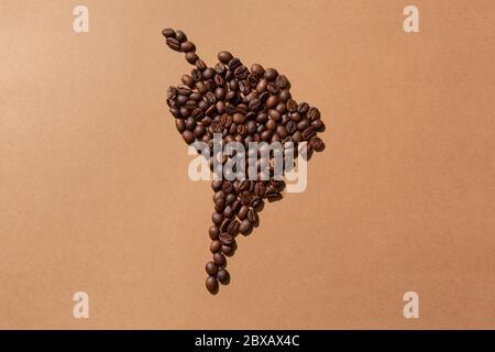 Carte de l'Amérique du Sud faite avec des grains de café sur fond marron Banque D'Images