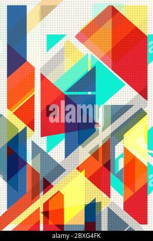 Couverture géométrique colorée Modernisme suisse. Cubes et triangles. Texture orange, bleu jaune et rouge. Les formes abstraites de motif concepts d'arrière-plans pour un
