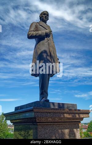 Royaume-Uni, Yorkshire du Sud, Barnsley, Locke Park, statue de Joseph Locke
