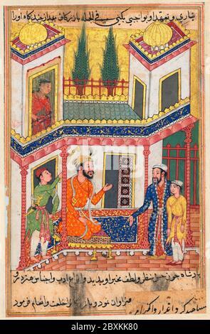 Page de Tales of a Parrot (Tuti-nama): Cinquantième nuit: Le marchand retourne apporter un jeune esclave qui est vraiment le fils de la princesse de Rum, maintenant marié au roi, vers 1560, l'art indien et sud-est asiatique Banque D'Images