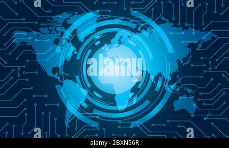 Circle TECH concept vector.World map contexte commercial Banque D'Images