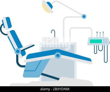 Espace de travail dentaire avec outils vecteur icône plate isolé