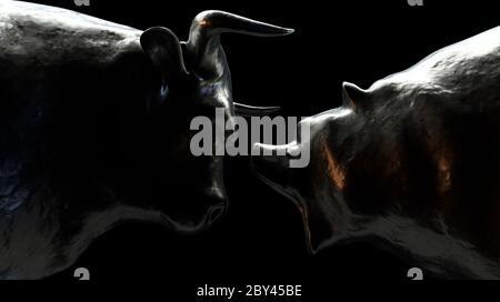 Deux pièces en métal représentant un taureau opposé à un ours dans une lumière sombre et dramatique représentant les tendances opposées du marché financier - rendu 3D Banque D'Images
