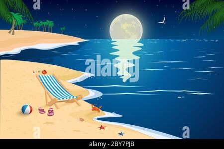 paysage de la plage en pleine lune nuit Banque D'Images