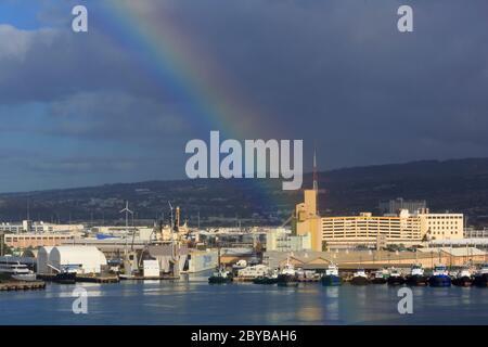 Rainbow, Honolulu City, Oahu Island, Hawaii, États-Unis Banque D'Images