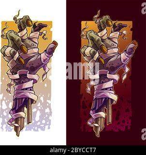 Bande dessinée effrayante violet zombie mains monstre avec bandage et rubans. Espace vide pour le texte. Sur fond sombre. Ensemble d'icônes vectorielles Halloween. Banque D'Images