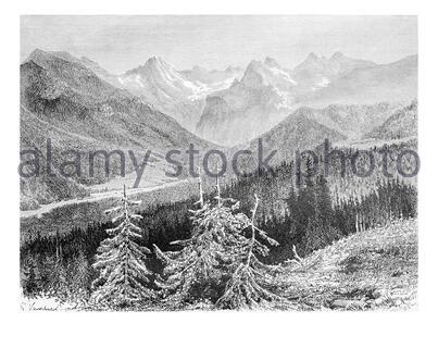 Vue sur le massif de la rivière Trzy Korony et la vallée de l'eau blanche dans les montagnes de Pieniny, Pologne, dessin de G. Vuillier, d'une photo du Dr. Gustav Banque D'Images