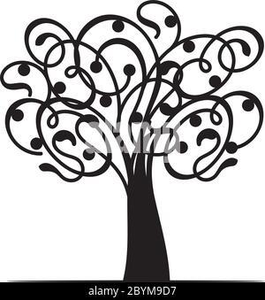 Arbre de vie décoratif printanier. Silhouette avec des feuilles. Illustration du contour vectoriel. Plante dans le jardin. Objet vectoriel libre de droits. Banque D'Images